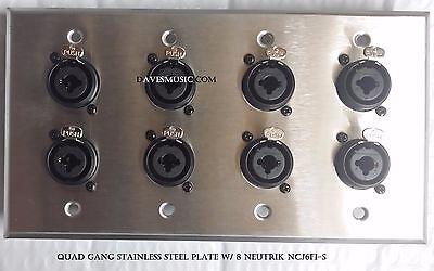 Custom Leviton Stainless Steel Wallplate Triple Gang w// Genuine Neutrik Jacks