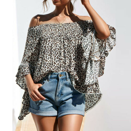 Women Lady Flare Sleeve Off Shoulder Loose Leopard Print Shirt Tops Blouse Tunic
