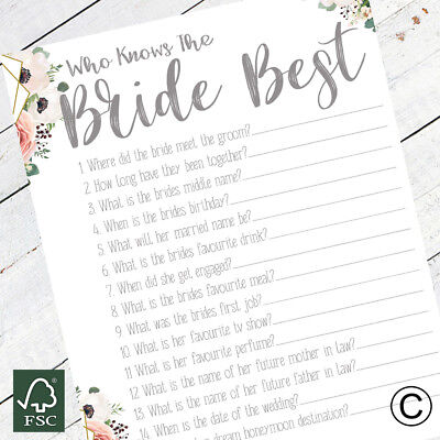 Night Do Fun Idea Accessory Hen Party Game Pack of 5 Who Knows the Bride Best