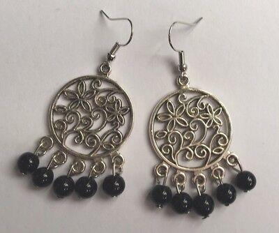 BohoCoho Quirky Boho Gypsy Festival Silver /& Jet Black hoop dangle earrings