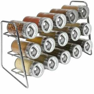Spice-Rack-Organizer-3-Tier-w-15-Glass-Bottle-Spice-Jars-Great-for-Countertop