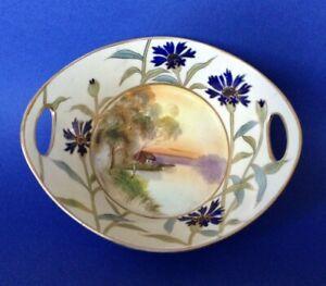Nippon Noritake Handled Bowl - HandPainted Tree In Meadow - Blue Flowers - Japan