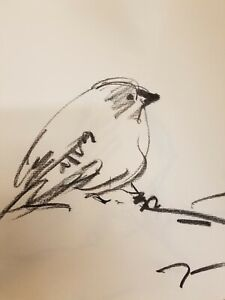 "JOSE TRUJILLO - Original Charcoal Paper Sketch Drawing 12"" Bird Modernism MODERN"