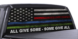 3da2fd8426 FGD Truck Rear Window Decal Military Police   Fire American Flag ...
