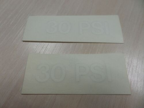 2 White /'30/' PSI Tyre Pressure Vinyl Decal 12.5mm Cap Height *FREE POSTAGE*