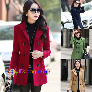 Korean-fashion-women-039-s-section-double-breasted-Slim-woolen-jacket-coat