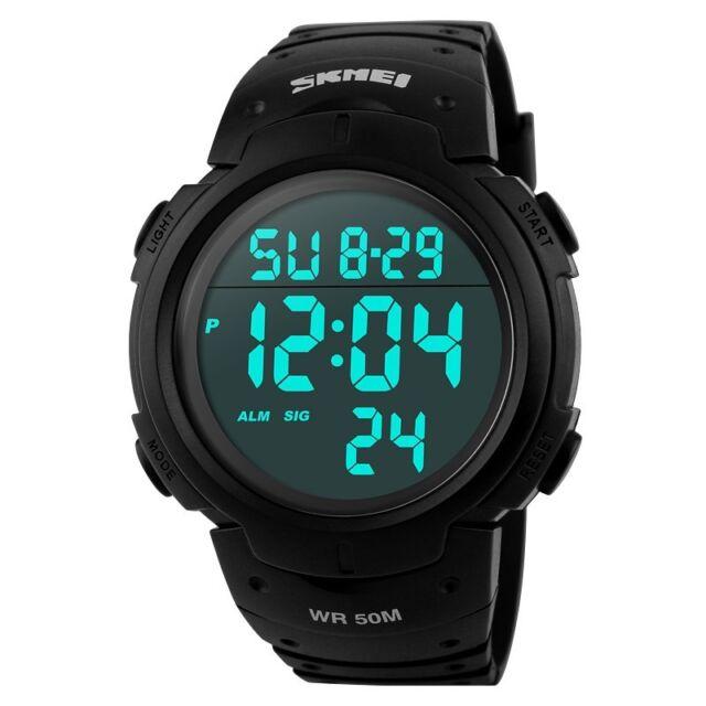 Mens Luminous Black Sport Waterproof Digital Fashion Alarm Stopwatch Wrist Watch