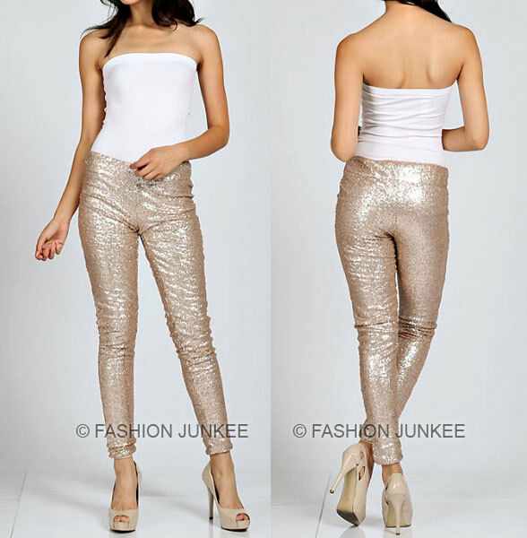 GOLD SEQUIN LEGGINGS Pants Metallic Stretch Long Womens Holiday Sexy S M L 1X 2X