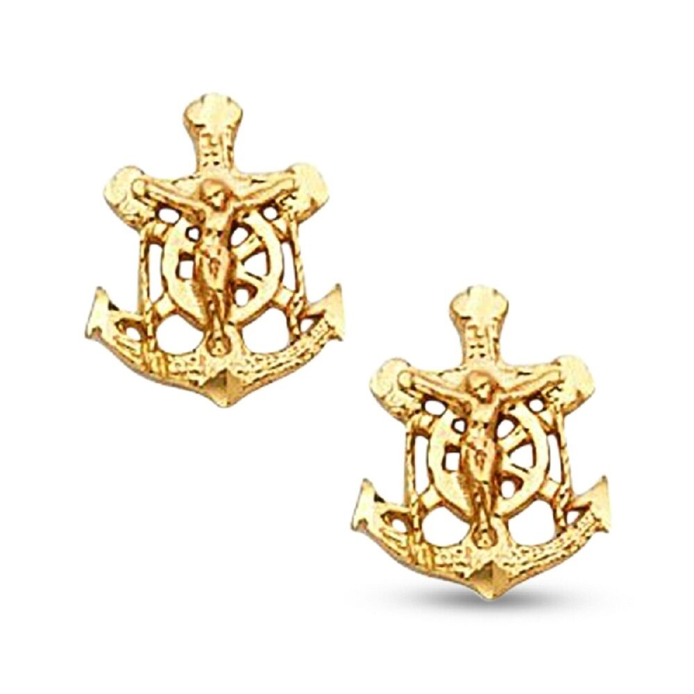 Jesus Anchor Cross Stud Earrings Solid 14k Yellow gold Mariner Crucifix Studs
