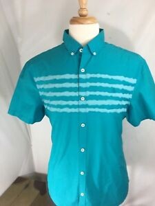 Penguin-Mens-Short-Sleeve-Button-Front-Teal-Shirt-Button-Collar-Size-XL