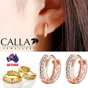 CALLA 18K Yellow / Rose Gold Huggie Clear Crysal Circle Hoop Earrings Jewelry