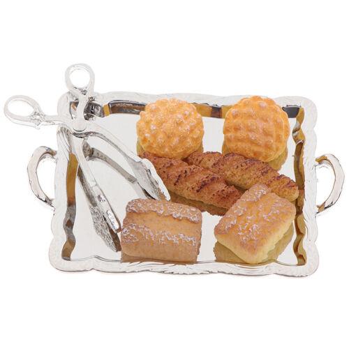 6 BreadGAS Silver Clip 8Pcs 1:12 Dollhouse Miniature Accessories Silver Tray