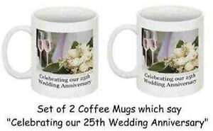 List Of Gifts For 25th Wedding Anniversary India : Wedding Anniversary Mugs - Set of 2 eBay