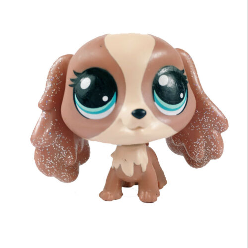Littlest Pet Shop #295 Nutmeg Dash brown Cocker Spaniel Glitter Puppy Figure