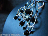 Handcrafted Wire Wrap Victorian Style Earrings & Pendant Set Faceted Black Glass