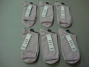 NWT Women/'s Hue Pretty Pucker Socks One Size 6 Pair White//Pink Sugar #640E