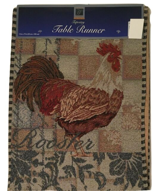 Everyday Rooster Tapestry Table Runner 13x72