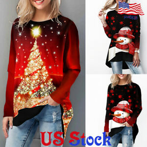 Women-039-s-Loose-Christmas-Tree-Printed-Casual-Tops-Round-Neck-T-shirt-Blouse-US