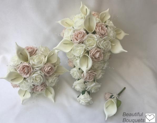 Nozze Lily Fiori Avorio rosa Calla Lily Nozze Bouquet, Sposa, Damigella, Fiore-Girl d38544