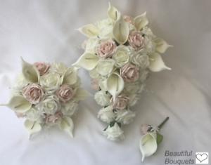 Wedding Flowers Ivory Rose Calla Lily Bouquet Bride Bridesmaid Flower Girl Ebay