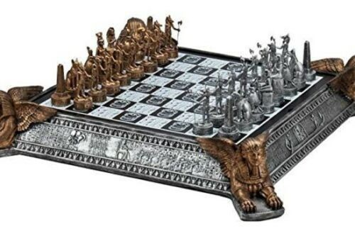 Polystone chess set 3D Egyptian detailed pieces painted in bronze and pewter