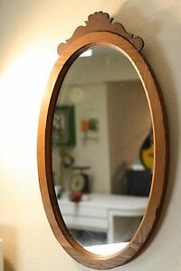 Details About Large Vintage Mid Century Modern Mission Style Oval Mirror In Ornate Wood Frame