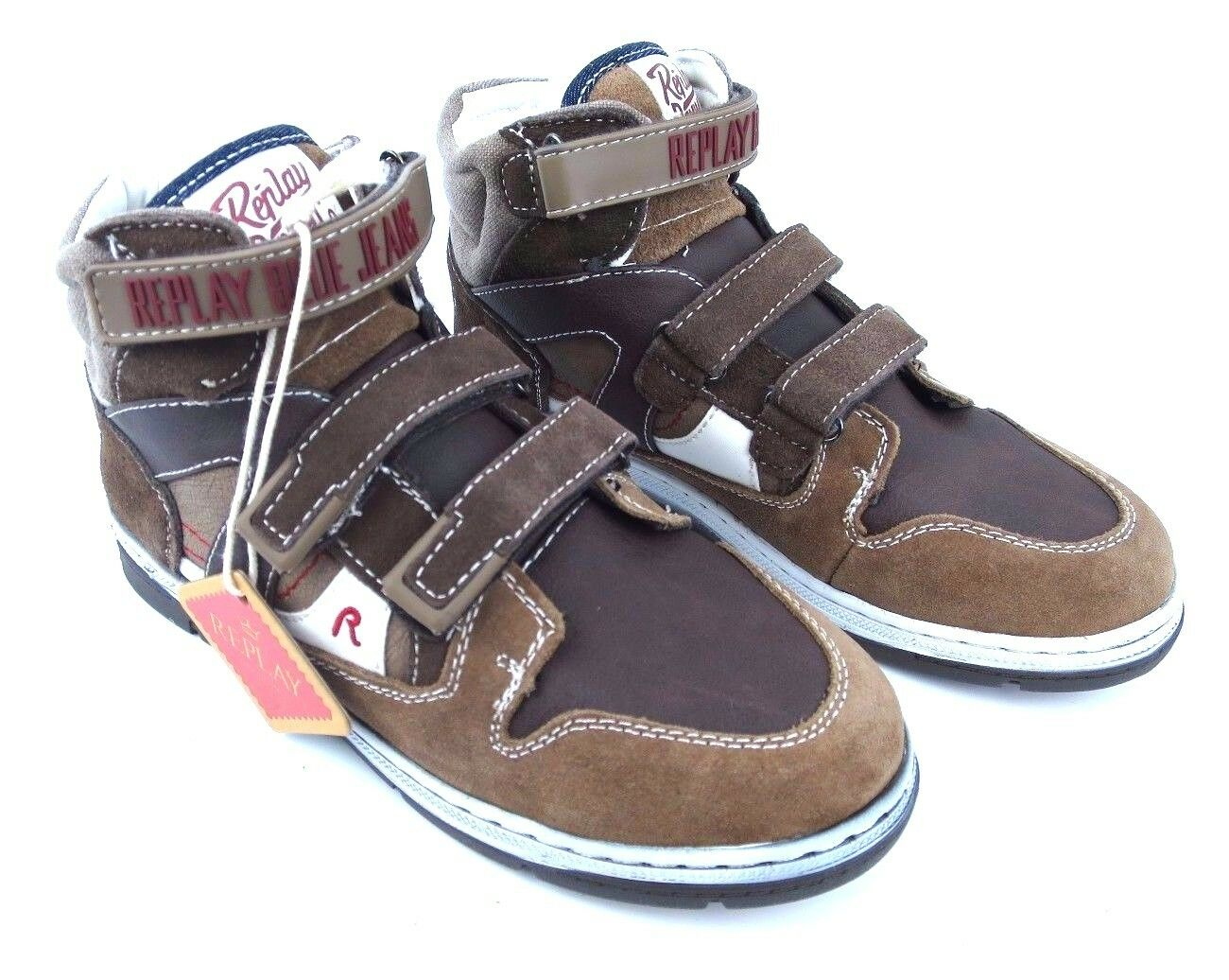 Replay Wells Kids Boys Sneaker shoes Boys Leather Brown RS-C