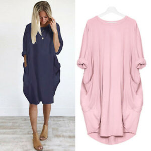 UK-Womens-Ladies-Long-Sleeve-Casual-Dress-Loose-Pocket-Baggy-Long-Shirt-Dresses