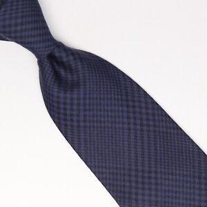 John-G-Hardy-Mens-Silk-Wool-Necktie-Navy-Blue-Black-POW-Glen-Plaid-Check-Tie