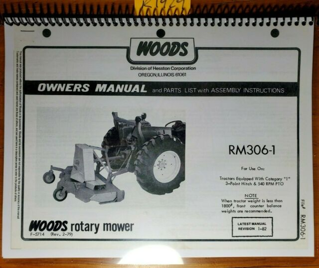 Woods RM306 1 Mower Owner S Operator S Parts Manual F 5714 1 82