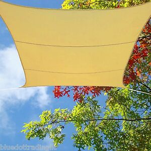 Tuff Desert Sand Waterproof Shade Sail 13x13 ft Square Backyard Pool Lawn Awning