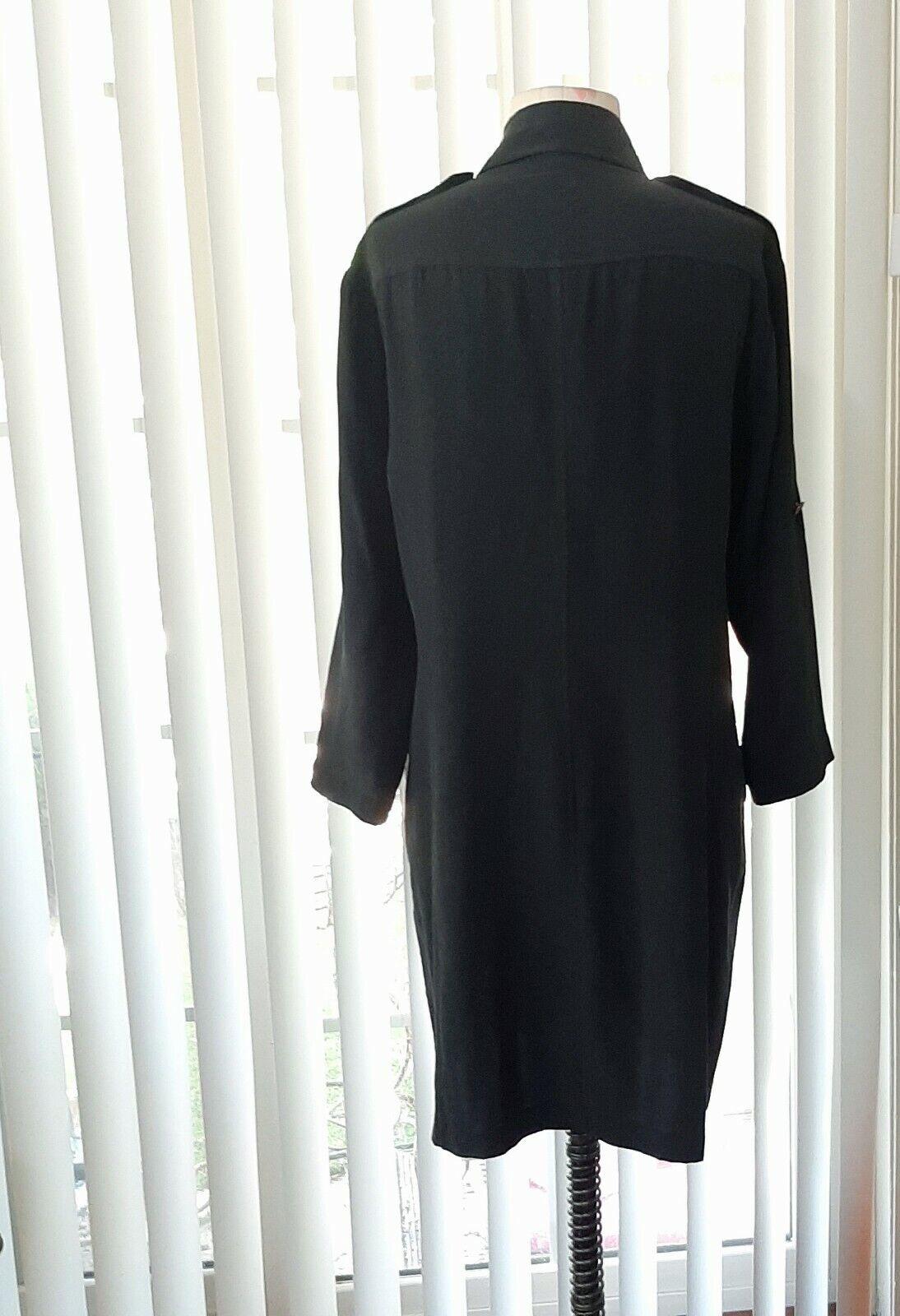 Rag And Bone 100% Silk Black Shirt Dress Womens S… - image 2