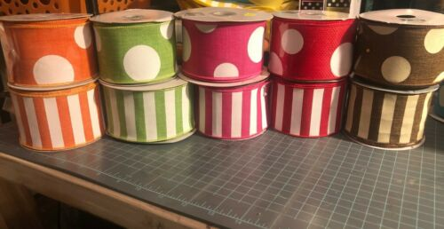 Easter Spring Wired 2.5x5 yards of Ribbon Polka dots and stripes