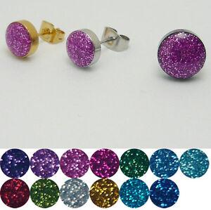 1 Paar Glitter Edelstahl Ohrstecker Ohrring Glitzer Rund Scheibe Stecker