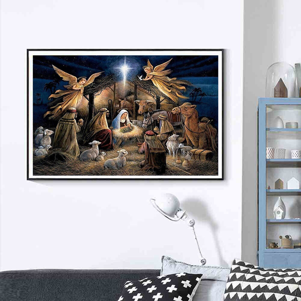 HK- 30x40cm Religion Jesus Nativity Cross Stitch DIY Full Round Diamond Painting Crafts