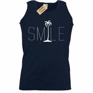 Uomo-Sorriso-Palme-Grafico-Tee-Spiaggia-Bum-Oceano-Grafico-Maglia-Canotta