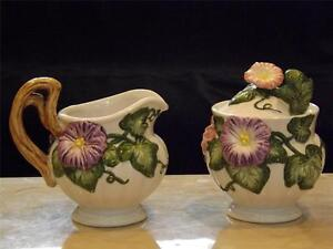 Fitz-Floyd-Floral-Covered-Sugar-w-Spoon-amp-Creamer-Set-Handpainted
