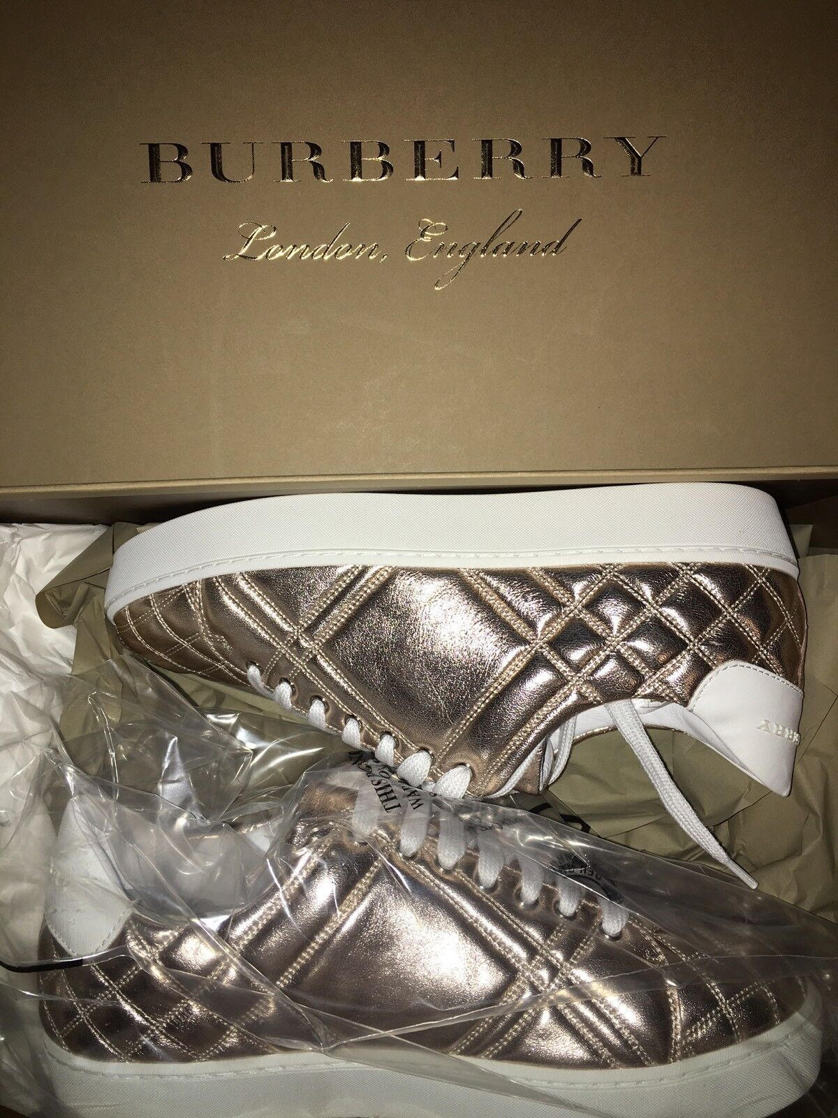NEW Burberry Women Westford Quilted Lace Up Sneakers Trainers shoes US 6   EU 36