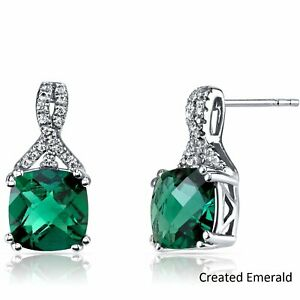 14K-White-GOLD-PLATED-EMERALD-2-86-CARAT-ROUND-SHAPE-STUD-PUSH-BACK-EARRINGS