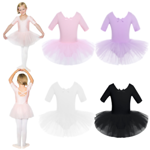 a6565909cddb Girl Kid Ballet Dance Dress Leotard Short Sleeve Tutu Skirt ...