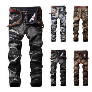 Uomo-Vintage-Denim-Jeans-Affusolato-Gamba-Mimetico-Dritto-Slim-Moto-Biker-Pants
