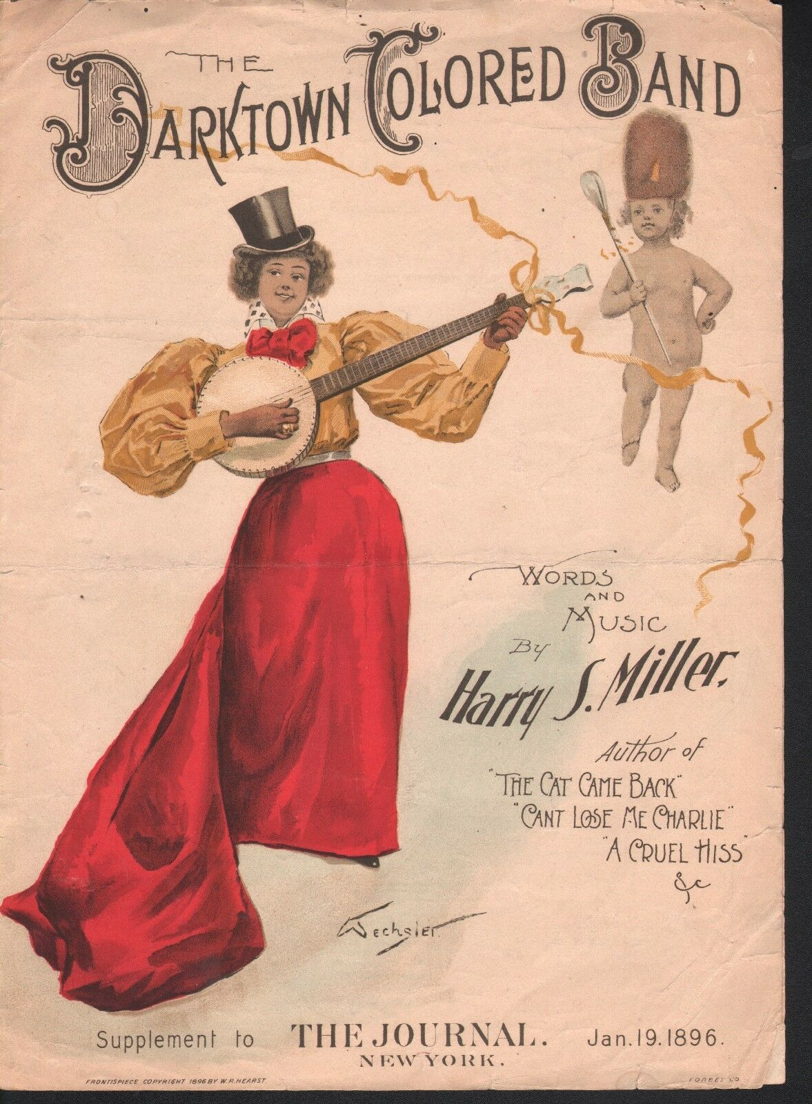 The Darktown Farbeed Band Supp to the New York Journal Jan 19, 1896 Sheet Music