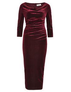New-M-amp-S-PER-UNA-Secret-Slimming-Claret-Cowl-Neck-Velvet-Shift-Dress-Sz-UK-8