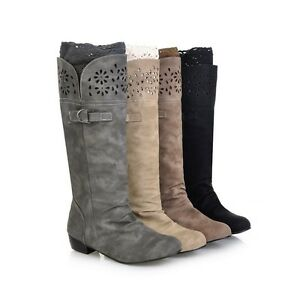 New-Ladies-039-Low-Cuban-Heel-Synthetic-Leather-Knee-High-Boots-Shoes-All-UK-Sz