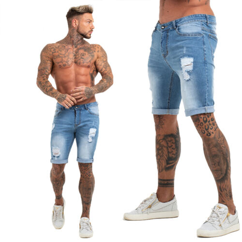 GINGTTO Men Shorts Jeans Ripped Skinny Fit Summer Frayed Distressed Denim Pants