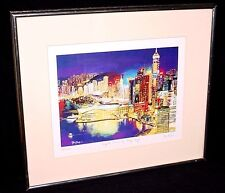 "Yiu Ping Lithograph ""Night View Of Hong Kong"" - Signed Number 12/1000 Art Print"