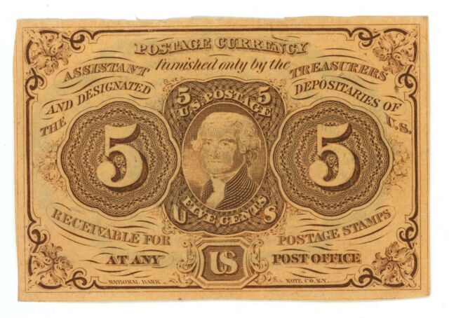 Fr. # 1230 First Issue 5 Cents Fractional Postage Currency 1862-1863