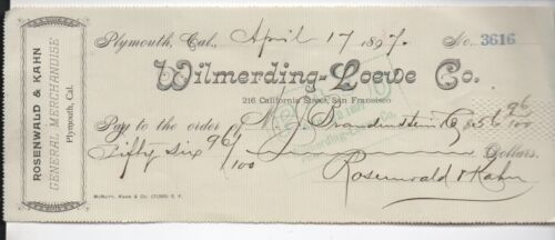 1897 Check from Wilmerding Loewe Distillers San Francisco to Plymouth CA