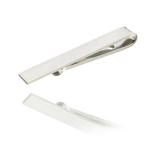 Skinny-4-cm-Slide-sur-Tie-Bar-Silver-Acier-inoxydable-fermoir-Slim-Pin-Clip