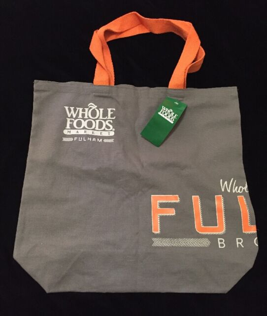 Whole Foods London Fulham Tote Bag England Uk Eco New Gray Orange Cloth Cotton